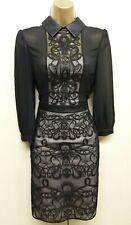 Size 16 UK KAREN MILLEN Black Lace Embroidered Shirt Dress Evening Occasion