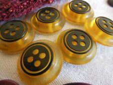 lot 6 Boutons vintage originaux transparent noir épais 2,3 cm ancien ref 542
