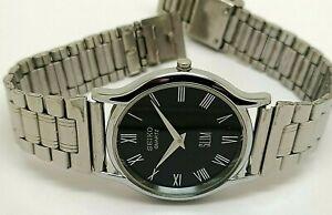 seiko quartz super slim men steel black dial excellent watch run order