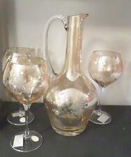 4pc Tinted Glass Crystal Wine Decanter Set  & Wine Glass Set Grape & Leaf Design