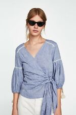 NEW ZARA Blue Crossover Blouse Top with Lace Trims Size Medium