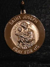 3D 21mm Saint St Joseph Medal Charm Pendant Solid Real 14K Yellow Gold 4.4gr