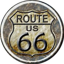 """Route 66 Rusty Distressed Look 12"""" Round Metal Sign Novelty Retro Home Decor"""