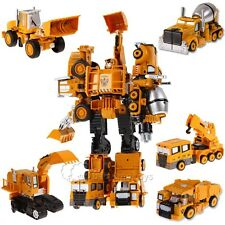 5 in 1 Diecast Metal Construction Vehicle Crane Dump Truck Transform Robot Toys
