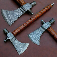 CUSTOM HAND MADE DAMASCUS STEEL PIPE TOMAHAWK, HATCHED AXE,INTEGRAL