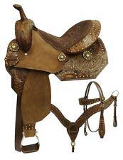 "New 14""  western Pleasure Trail handtool Full leather saddle Tack set"