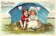 VALENTINE HOLIDAY CHILDREN UMBRELLA EMBOSSED POSTCARD 1914