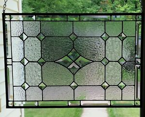 """Transom Stained Glass Window Panel w/Bevels - apprx size 26"""" x 20"""""""
