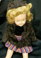 "Vintage Composition 1930's Ideal My Friend Shirley Temple doll 18"" For Repair"