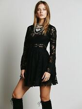 Free People Lace Lovers Folk Song Dress Black Bell Sleeve Cutout back