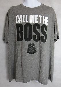 Star Wars Mens T-Shirt New Call Me The Boss Darth Vader Gray Officially Licensed