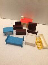 Vintage Lot Of Doll House Furniture Knickerbocker Mattel Beds Tables Dressers Tv