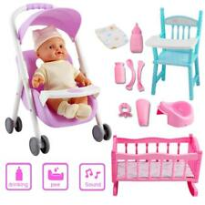 deAO Baby Doll Playset with Crib, Stroller, Highchair, Accessories and Baby Doll