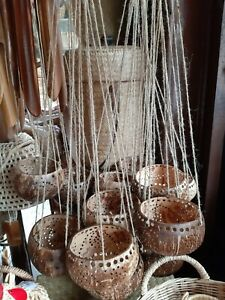 Coconut Shell Hanging Orchid Flower Pot Balcony Home Décor