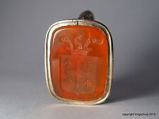 Agate Intaglio Fob Wax Seal Armorial JUDGE MANNING Family Arms Crest