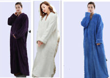 New Ladies Soft Feel Cozy zip up Long dressing gown Bath robe cover up housecoat