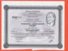 Türkei Turkey 1000 DM MARK Aktie  PETROKIMYA Aonim Sirketi  Atatürk Turgut Özal