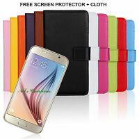 Real Genuine Leather Phone Wallet Case Cover Card Samsung Galaxy S6 Cover Stand