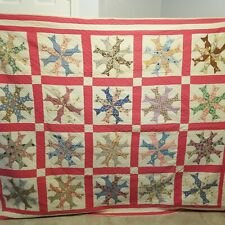 ANTIQUE HAND STITCHED QUILT * vintage pink Whirligig Fish star circle square