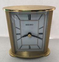 Seiko Mantle Desk Table Clock Goldtone Battery White Face Runs Well