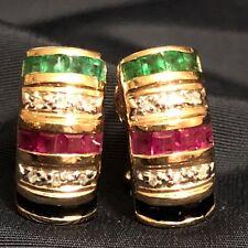 SALE... Estate 14K Gold Emerald Ruby Sapphire Diam Omega clip earrings