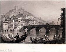 Verona: Panorama. Costumi. Veneto. Acciaio. Stampa Antica + Passepartout. 1836