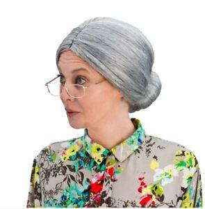 Adult GRANNY BUN WIG Old Lady Nanna Grandma Woman Fancy Dress Stag Hen