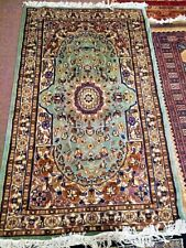 Afghan 3x5 Natural Carpet Rug Silk Wool Blend Oriental Turquoise Blue Pakistan