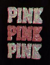 Victoria Secret PINK Sequined University Of Pink Junior's T-Shirt Pink size M
