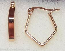 UNUSUAL 20x3mm Gold Plated Stainless Steel Hoop Earrings PERFECT 4 CHARMS