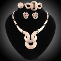 New Design Statement Earings Necklace Bangle Ring  Women Gold Plated Jewelry Set