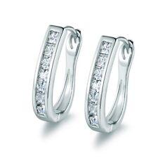 Women Silver Tone Lab Diamond Rhinestone Crystal Hoop Stud Earrings Jewellery