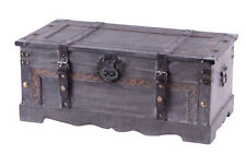 New Vintiquewise Vintage Style Gray Wooden Storage Trunk, QI003627L
