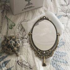 Metal Oval Vanity Ornate Brass Desk Stand Mirror Desk Make Up Classic Vintage