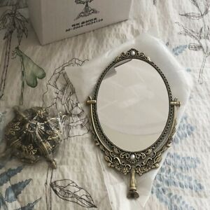 Metal Oval Vanity Ornate Brass Desk Stand Mirror Desk Make Up Classic Vintage