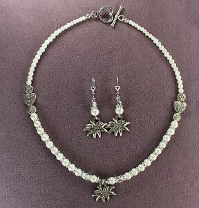 EDELWEISS NECKLACE EARRINGS SET Trachten Dirndl Flower Alps White Pearl Silver