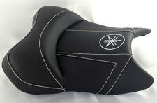 06-07 YZF R6 Custom Shaped And Covered Carbon Fiber White Embroidered Front Seat