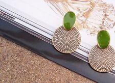Carved Stud Earrings Vintage Green Round