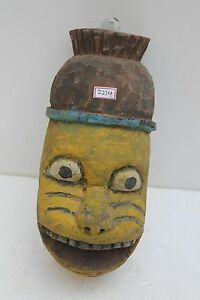 1900's Vintage Rare Old Hand Made Wooden Folk Tribal Wall Hanging Mask NH2214