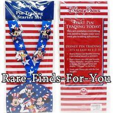Disney Parks Mickey Americana Patriotic Stars Stripes July 4th Lanyard 4-Pin Set