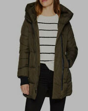 $480 French Connection Women's Green Pillow Collar Puffer Zip Coat Jacket Size L