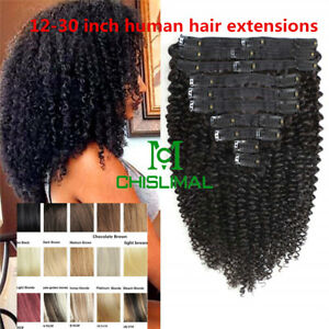 Long Kinky Curly Clip In Human Hair Extensions Afro for Women 8A Thick Remy Hair