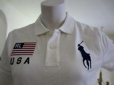 Polo Ralph Lauren Women's Big Pony Polo Shirt Skinny Fit USA Flag Logo NWT XL