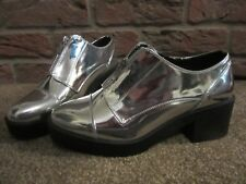 NEW UK 6 River Island Boots Shoes Metallic Silver Ankle Chunky Heel £35 Party