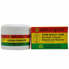 African Queen Super Strength Cream 8 oz + Super Beauty Soap 200 grams Duo