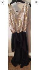 Cotton Club Dress Asymmetrical Skirt Gold Sequins Black Size 8