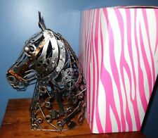 PINK ZEBRA METAL STEAMPUNK HORSE SHADE MANCAVE OR WESTERN DECOR NUT & BOLT STYLE