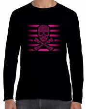 Floral Skull & Crossbones Long Sleeve T-Shirt - Goth Emo Tattoo Skeleton