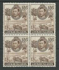 CAYMAN ISLANDS SG126 THE 1938 GVI  10/- CHOC.P11.5X13 SUPERB MNH BL.OF 4 C.£152+