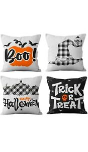 Set of 4 Spooktacular Decorative Halloween Cushion Covers Sofa & Bed Throws